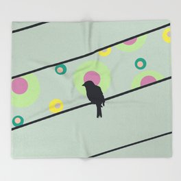 Bird on wire and dots Throw Blanket