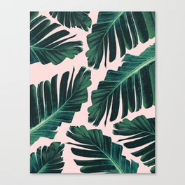 Tropical Blush Banana Leaves Dream #1 #decor #art #society6 Canvas Print