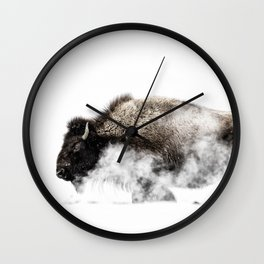 Bison Yellowstone Winter Wall Clock