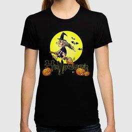 Halloween, witch on a broom, bats and pumpkins T-shirt