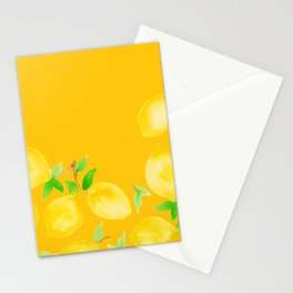 Lemons on Mustard Yellow Stationery Cards