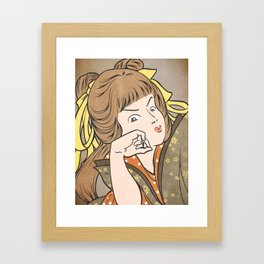 Japanese Prints Inspired Painting of a Woman - Contemplation Framed Art Print