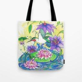 Lotus Hummingbird  Tote Bag