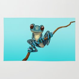 Cute Blue Tree Frog on a Branch Rug