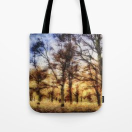Pastel Sunset Trees Tote Bag