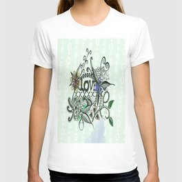 "Pen and ink drawing illustration,""LOVE"" wall art, home decor design T-shirt"