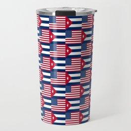 Mix of flag: usa and Cuba Travel Mug