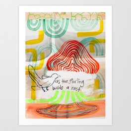 As The Starling Builds A Nest (No.11) Art Print