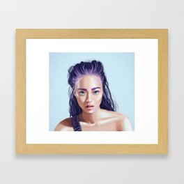 Beautiful Asian girl with colored hair. Framed Art Print