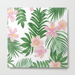 Summer tropical modern blush pink coral green floral Metal Print