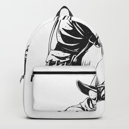 Cowboy skeleton with crossbow - black and white - gothic skull cartoon - ghost silhouette Backpack