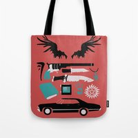 supernatural Tote Bags featuring Supernatural by Abbie Imagine