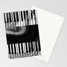 Modern Art Black And White Piano - Sharon Cummings Stationery Cards