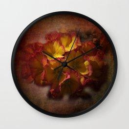 primroses on ancient texture -2- Wall Clock