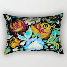 Colorful floral abstraction #2 acrylic painting , flower acrylic painting on a black background Rectangular Pillow