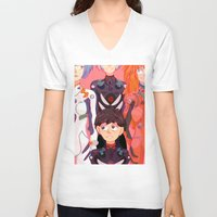 evangelion V-neck T-shirts featuring Evangelion Kids by minthues