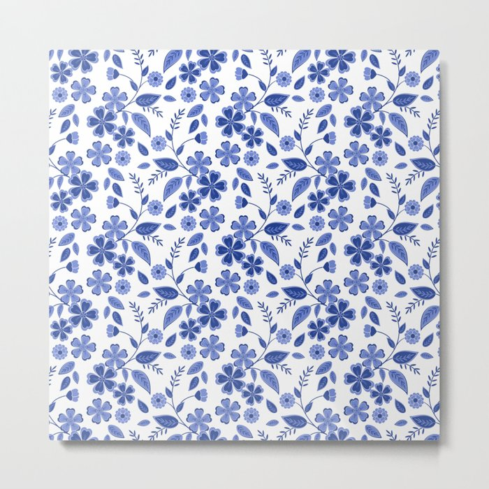 Lovely blue flowers on a white background. Metal Print