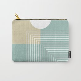 White Sun - Geometric Mid-Century Minimalist Carry-All Pouch