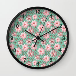 Blossoms in Strawberry Ice Wall Clock