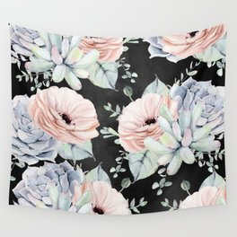 Night Succulents Wall Tapestry