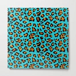 Aqua Leopard Print retro fashion art pattern Metal Print