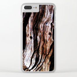Ancient olive tree wood close-up Clear iPhone Case