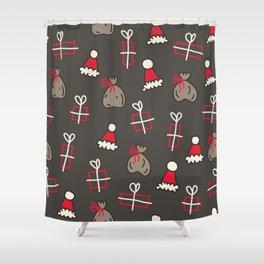 santa sack - christmas print in brown Shower Curtain