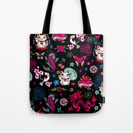 Lucky Cat Maneki Neko , Dragons and Koi fish Tote Bag