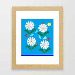 White Spring Daisies, Dragonflies, Lady Bugs and the Sun Framed Art Print