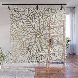 Elegant white faux gold floral trendy mandala Wall Mural