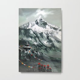 Panoramic View Of Mountain Everest Metal Print