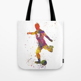 Soccer player isolated 03 in watercolor Tote Bag