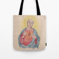 larry david Tote Bags featuring Larry David Our Saviour by Laura Francis Design