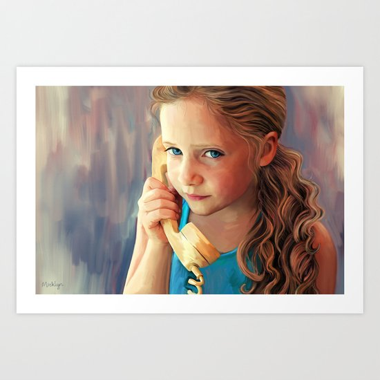 The Confidante - painting of a young girl on the phone Art Print