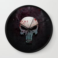 punisher Wall Clocks featuring Punisher Skull  by Electra