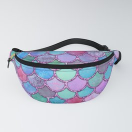 Colorful Pink Glitter Mermaid Scales Fanny Pack