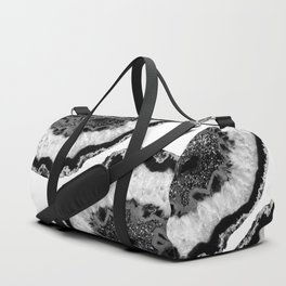 Gray Black White Agate Glitter Glamor #2 #gem #decor #art #society6 Duffle Bag