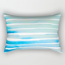 New Year Blue Water Lines Rectangular Pillow