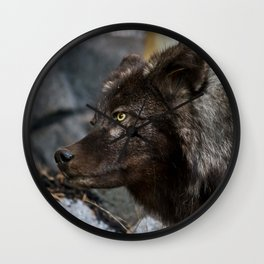 Black Wolf Wall Clock