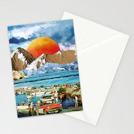 Orange moonset beach Stationery Cards