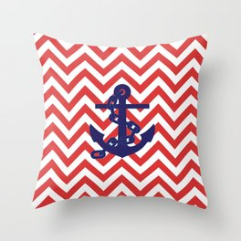 Blue Anchor on Red and White Chevron Pattern Throw Pillow
