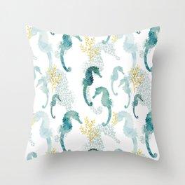 Pointillism Seahorse Throw Pillow