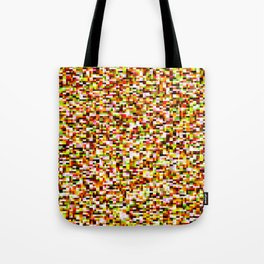 Red yellow pixel noise static pattern Tote Bag