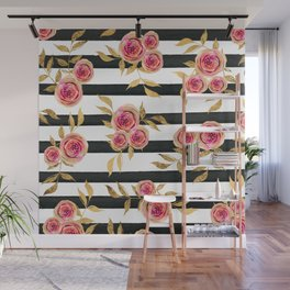 Girly Modern Pink Gold Flowers Black White Stripes Wall Mural