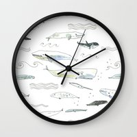 whales Wall Clocks featuring Whales by Elizabeth Graeber