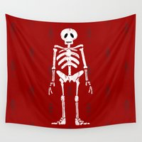 skeleton Wall Tapestries featuring Skeleton by Emma Harckham