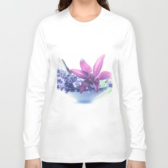 Summer flower pattern lilies and lavender Long Sleeve T-shirt