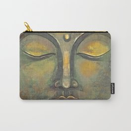 Rusty Golden Buddha Face - Zen and Balance Watercolor Painting Carry-All Pouch
