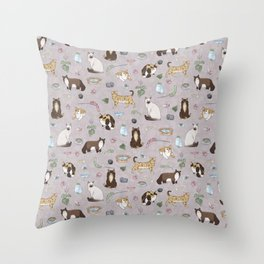 Cute Realistic Cats Design- Brown & White Kitty Pattern 1 Throw Pillow