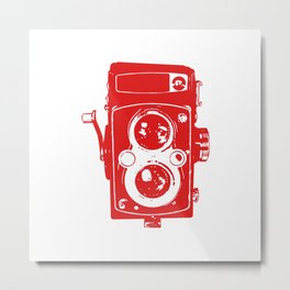 Big Vintage Camera - Red White Metal Print
